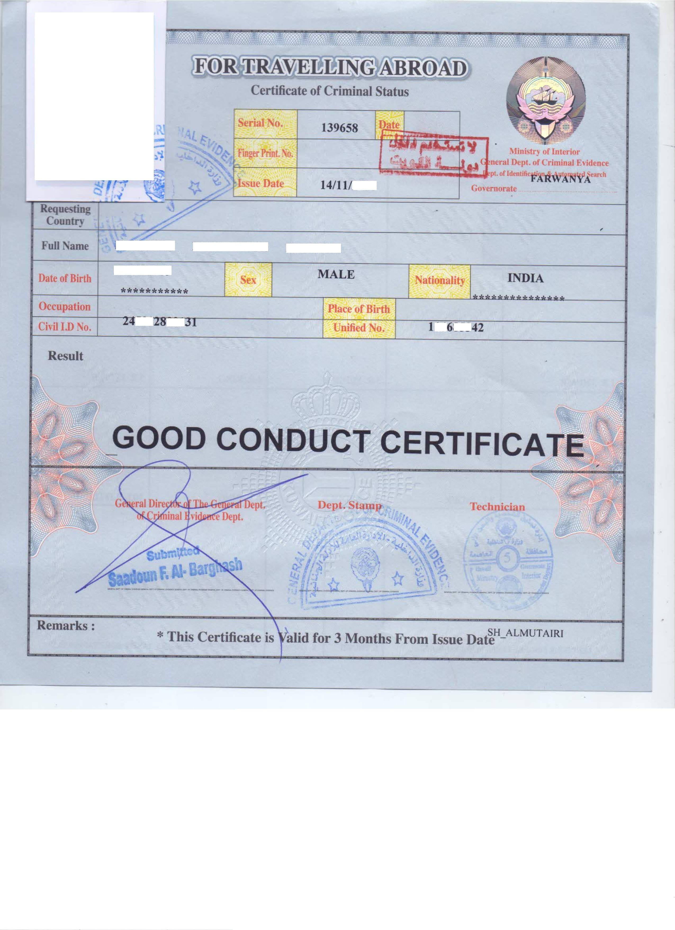 Police Clearance Certificate Kuwait, Delhi, Mumbai