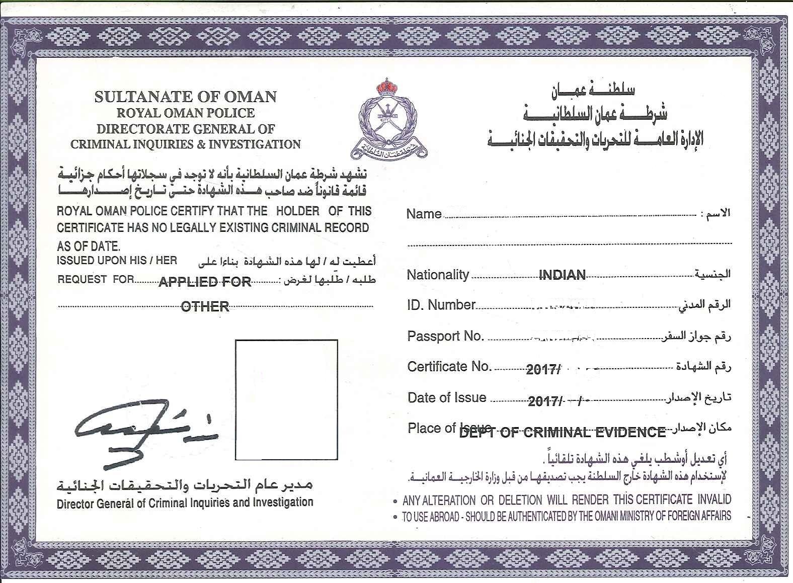 Police Clearance Certificate Oman Delhi Mumbai Ahmedabad